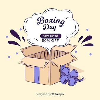 Fondo día del empaquetado regalo abierto dibujado a mano
