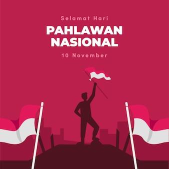 Fondo del día de los héroes pahlawan de diseño plano con hombre y bandera