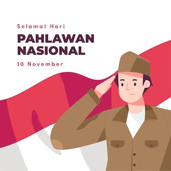 Fondo del día de los héroes pahlawan de diseño plano con hombre
