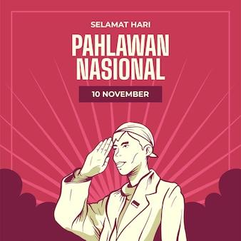 Fondo del día de los héroes pahlawan vintage con hombre