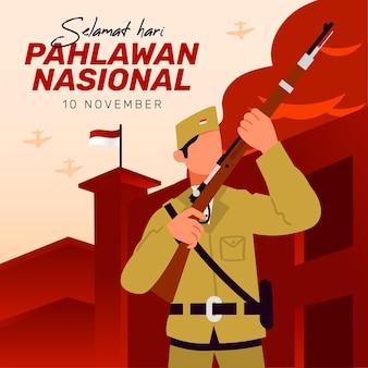Fondo del día de los héroes pahlawan vintage con puño