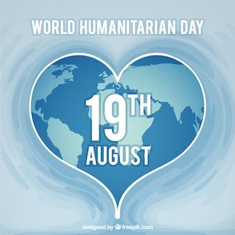 Fondo del día humanitario con mundo en forma de corazón