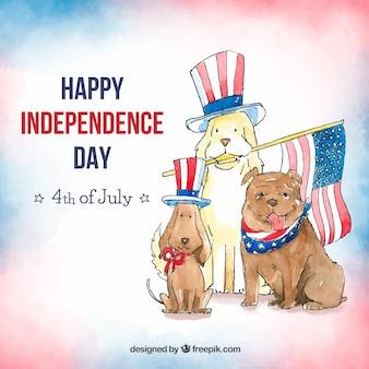 Fondo de día de la independencia del 4 de julio en estilo acuarela