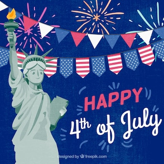 Fondo de día de la independencia del 4 de julio en estilo plano