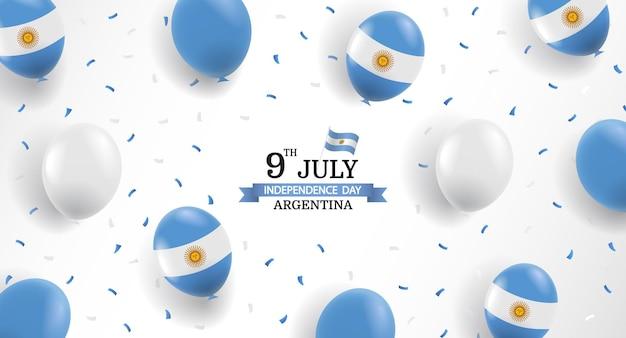 Fondo del día de la independencia de argentina con globos