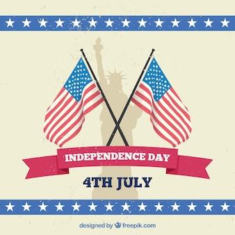Fondo del día de la independencia con banderas y estatua de la libertad