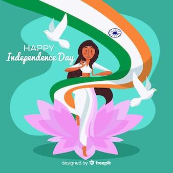 Fondo del día de la independencia de india dibujado a mano
