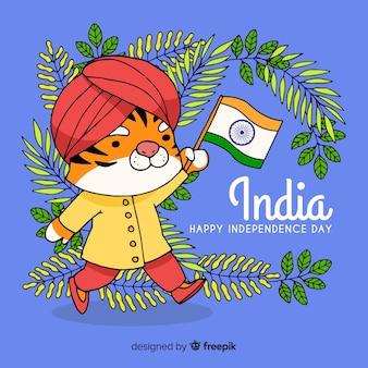 Fondo día de independencia de la india dibujado a mano