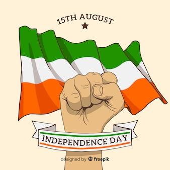 Fondo del día de la independencia de india dibujo a mano