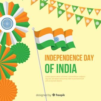 Fondo del día de la independencia de india en diseño plano
