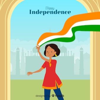 Fondo día de independencia de la india diseño plano