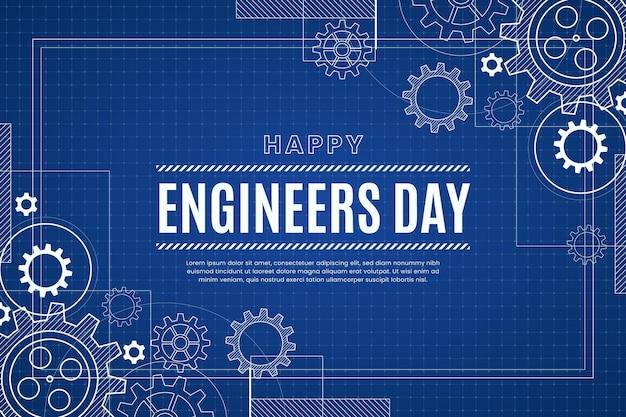 Fondo del día de ingenieros con ruedas dentadas