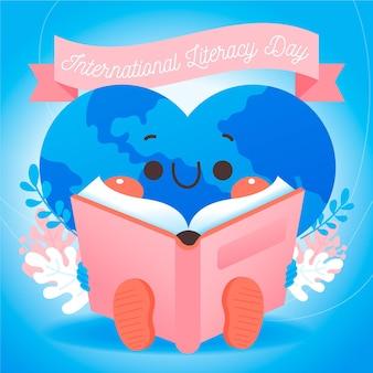 Fondo del día internacional de la alfabetización dibujado a mano