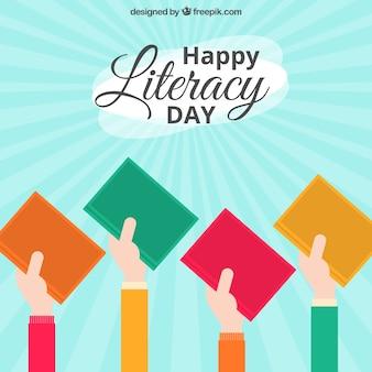 Fondo del día internacional de la alfabetización con libros