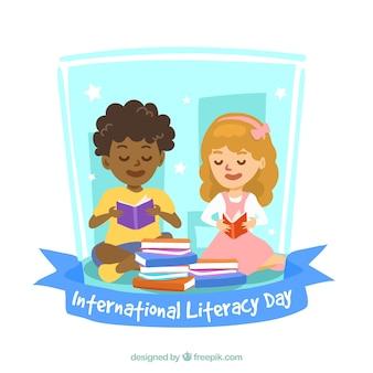 Fondo del día internacional de alfabetización con niños leyendo