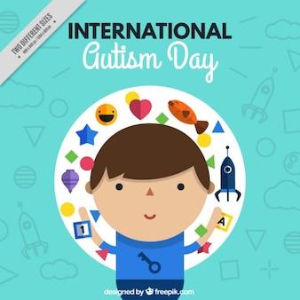 Fondo del día internacional del autismo con un niño
