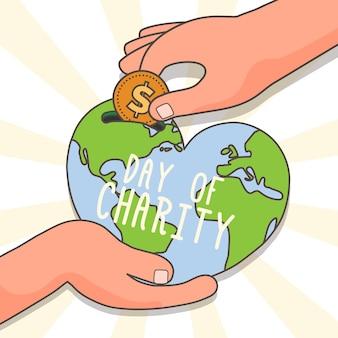Fondo del día internacional de la caridad dibujado a mano
