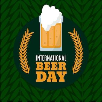 Fondo del día internacional de la cerveza dibujado a mano