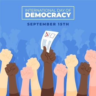 Fondo del día internacional de la democracia con las manos