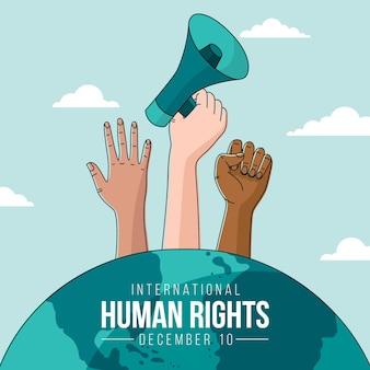 Fondo del día internacional de los derechos humanos dibujado a mano