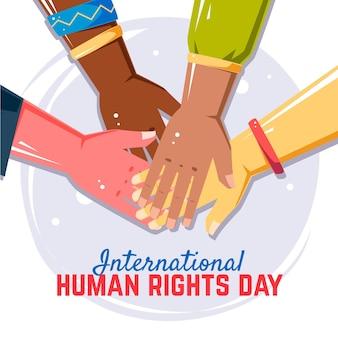 Fondo del día internacional de los derechos humanos en diseño plano