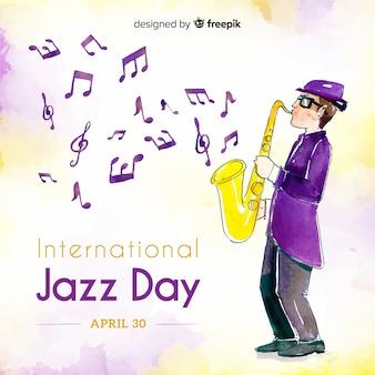 Fondo del día internacional del jazz en acuarela