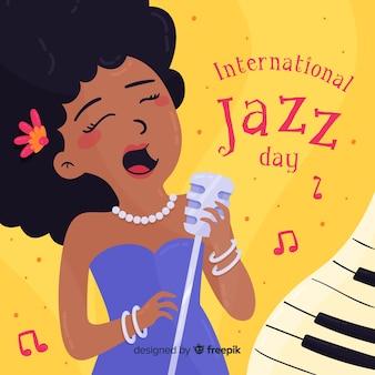 Fondo día internacional del jazz cantante dibujada a mano