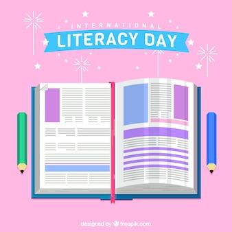 Fondo del día internacional de la literatura con libro en diseño plano