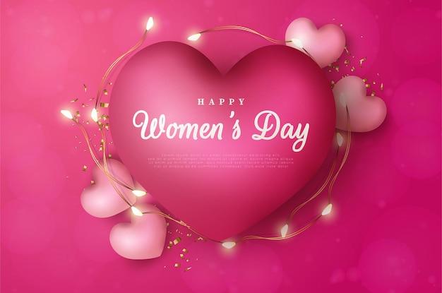 Fondo del día internacional de la mujer del 8 de marzo con globos de amor decorados con luces.