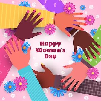 Fondo del día internacional de la mujer 8 de marzo con manos femeninas.