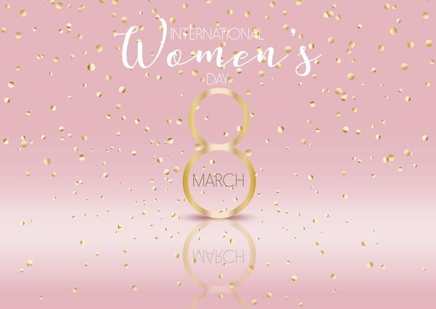 Fondo del día internacional de la mujer con confeti dorado