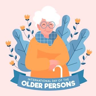 Fondo del día internacional de las personas mayores dibujado a mano
