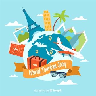 Fondo del día internacional del turismo con monumentos y transportes