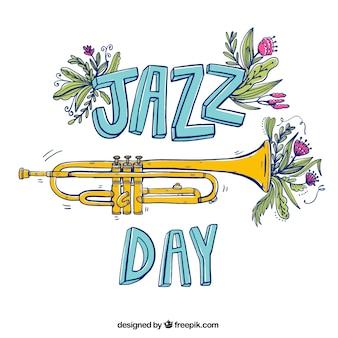 Fondo del día de jazz con elementos florales dibujados a mano