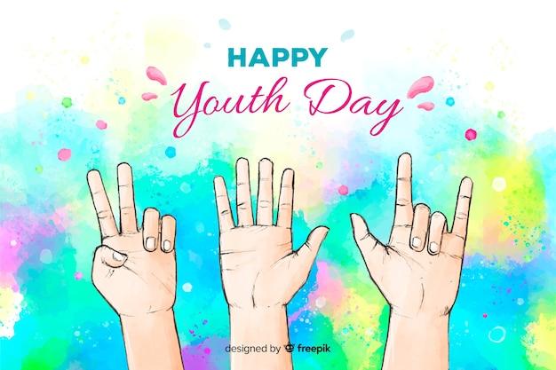 Fondo del día de la juventud en acuarela
