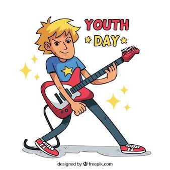 Fondo del día de la juventud con concepto de rock