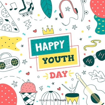 Fondo del día de la juventud dibujado a mano