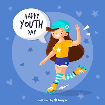 Fondo día de la juventud dibujado a mano