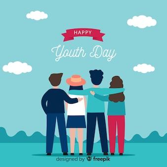 Fondo del día de la juventud en diseño plano