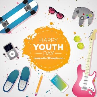 Fondo del día de la juventud con elementos realistas