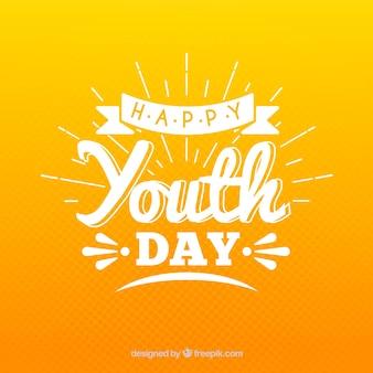 Fondo de día de la juventud con lettering