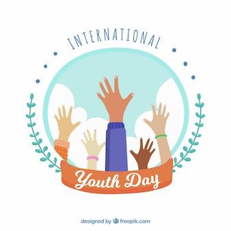Fondo de día de la juventud con manos