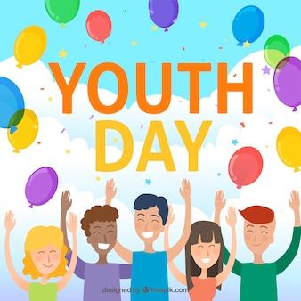 Fondo de día de la juventud con personas celebrando