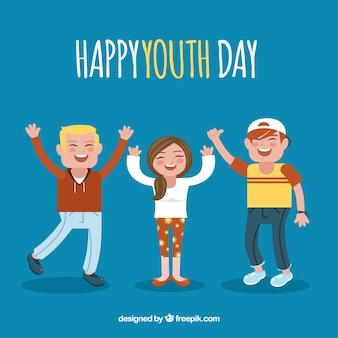 Fondo de día de la juventud con personas felices celebrando