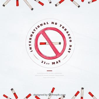 Fondo del día libre de tabaco con cigarrillos de acuarela