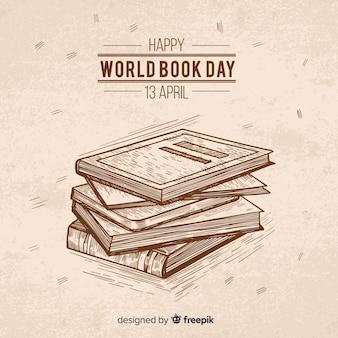 Fondo del día del libro dibujado a mano