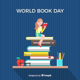 Fondo del día del libro en diseño plano