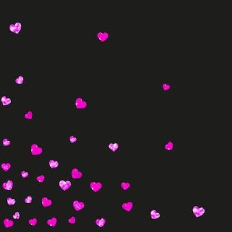 Fondo del día de la madre con confeti rosa brillo. símbolo de corazón aislado en color rosa. postal para el día de la madre. tema de amor para cartel, certificado de regalo, banner. plantilla de vacaciones para mujeres