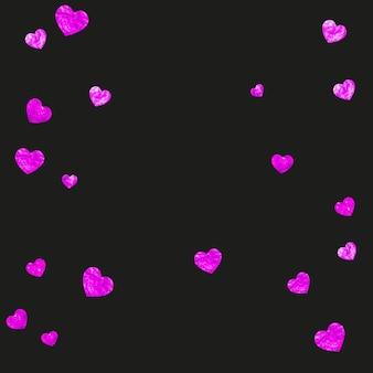Fondo del día de la madre con confeti rosa brillo. símbolo de corazón aislado en color rosa. postal para el día de la madre. tema de amor para oferta comercial especial, banner, flyer. plantilla de vacaciones para mujeres