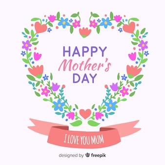 Fondo día de la madre corazón floral